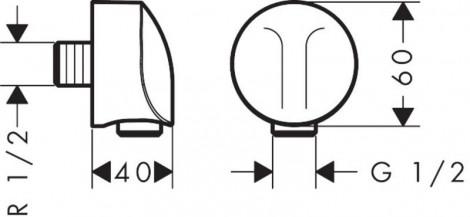 HANSGROHE - Rohový přípoj na napojení hadice 1/2 Fixfit, chrom 27454000
