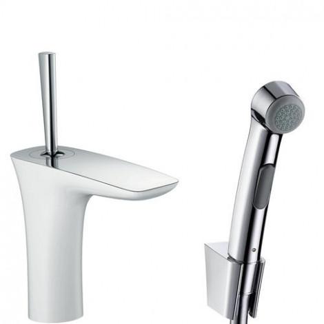 Hansgrohe PuraVida - Umyvadlová baterie s ruční sprchou Bidette, s výpustí, bílá/chrom 15275400
