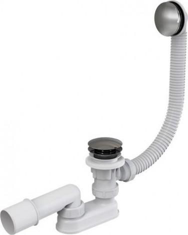 ALCA PLAST - Vanový sifon click-clack, 57 cm, větší krytka, kov, chrom A504KM