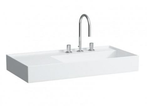 LAUFEN Kartell - Umyvadlo 90x46 bez přepadu bez otvoru odkládací plocha vlevo H8103390001121