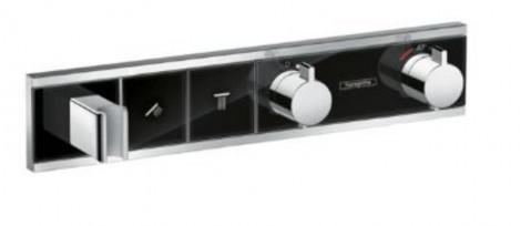 HANSGROHE RainSelect - vrchní sada pod omítku na 2 spotřebiče, černá / chrom 15355600
