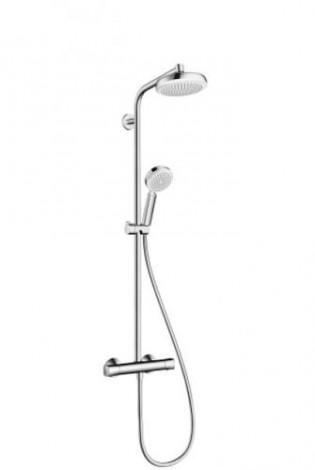 HANSGROHE Crometta 1jet Showerpipe - Sprc. sada 0,65m, hlavice 160mm, bílá/chrom 27265400