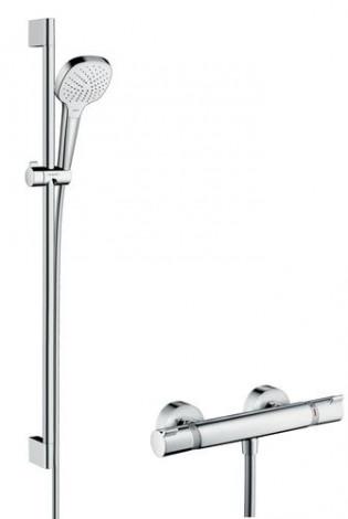 Hansgrohe Croma Select E - Sprchový set Vario s termostatem, 3 proudy, sprchová tyč 650 mm, bílá/chrom 27081400