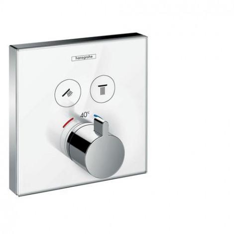 HANSGROHE Shower Select Glass - Termostatická baterie pod omítku pro 2 spotřebiče, bílá/chrom 157384