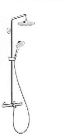 Hansgrohe Croma Select E - Termostatická vanová baterie Showerpipe 180 s příslušenstvím, bílá/chrom 27352400