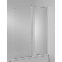 JIKA Cubito - Vanová zástěna 1150 mm, levá, 2 dílná, sklo transparentní, stříbrná lesklá H2564260026681