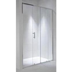 JIKA Cubito Pure - Sprchové dveře, 1 posuvný segment, 1 pevný segment, stříbrný profil, levé/pravé , 1400mm x 30mm x 1950mm - transparentní sklo H2422480026681