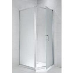 JIKA Cubito Pure - Pevná stěna, stříbrný lesklý profil, 900mm x 1950mm - sklo transparentní, 6 mm, madla chrom H2972420026681