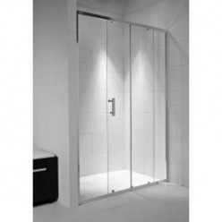 JIKA Cubito Pure - Sprchové dveře, 1 posuvný segment, 1 pevný segment, stříbrný profil, levé/pravé, 1200mm x 30mm x 1950mm - transparentní sklo H2422440026681