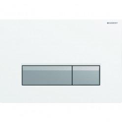 GEBERIT Sigma 40 - Tlačítko WC s odsáváním zápachu a filtrací (bílý plast/hliník) 115.600.KQ.1