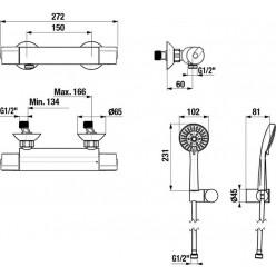JIKA Deep - Termostatická sprchová baterie se sprchovou hlavicí, chrom H3331U70042711