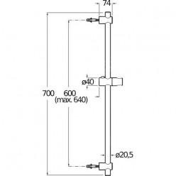 JIKA Cubito Pure - Sprchová tyč 700 mm, chrom H3641X00043101