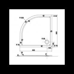 JIKA Padana - Čtvrtkruhová sprchová vanička, 800 x 800 mm, R550, bílá H2119300000001