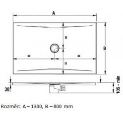 JIKA Cubito Pure - Sprchová vanička ocelová premium 1300x800 mm, antislip, bílá H2164226000001