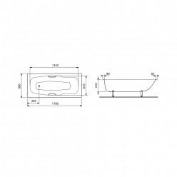 JIKA Praga - Ocelová vana, včetně madel, 1700x800x410 mm, bílá H2343740000001