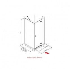 JIKA Cubito Pure - sprchové dveře jednokřídlé bezrámové s pevným segmentem 900/1950mm, pravé, transparentní sklo s Jika perla Glass H2544230026681