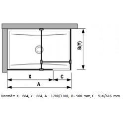 JIKA Cubito Pure Walk in - do rohu 680×900mm pro vaničku 1200×900, 1300×900mm vč. dvou bočních profilů a vzpěry, perla GLASS H2684240026681