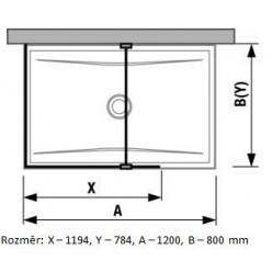 JIKA Pure - Skleněná stěna L 1200x800 mm pro sprchovou vaničku 1200x800 mm, s úpravou Jika Perla Glass, 1200mm x 200mm x 2000mm H2694210026681
