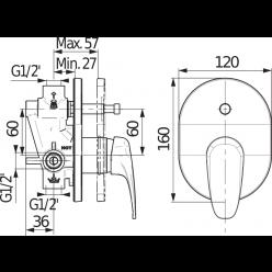 JIKA Deep - Vanová podomítková baterie s přepínačem, chrom H3211U60040001