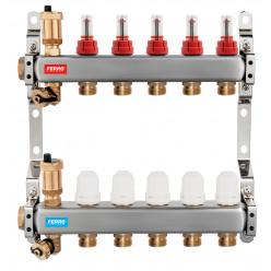 NOVASERVIS Rozdělovač nerez s průtokoměry a uzav. ventily, 10 okruhů SN-RZPU10S