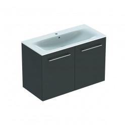 Geberit Selnova Square - Umyvadlová skříňka 635x988x480 mm, s umyvadlem, 2 dvířka, lávová mat 501.261.00.1