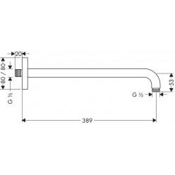 HANSGROHE - Sprchové rameno 389 mm, chrom 27446000