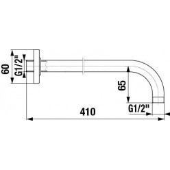 JIKA Cubito - Sprchové rameno nástěnné 400 mm, chrom H3661X00040051