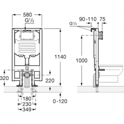 JIKA Modul - WC SYSTEM COMPACT, 1180mm x 620mm x 150mm H8946520000001