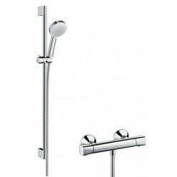 Hansgrohe Crometta 100 - Sprchový set Vario s termostatem, sprchová tyč 650 mm, bílá/chrom